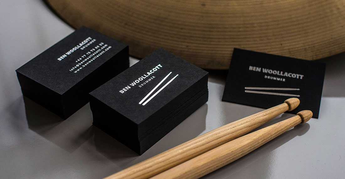 Ben Woollacott drummer based in London business card